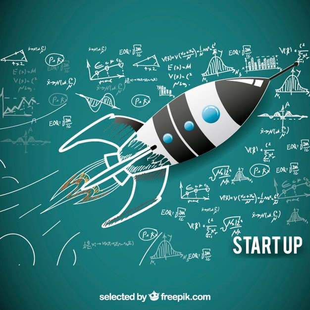 Sketchy rocket for starup Free Vector