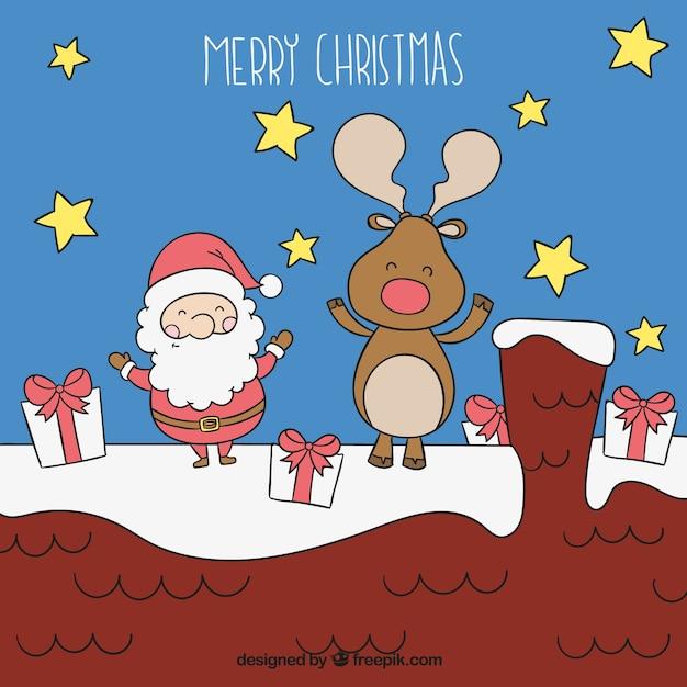 Sketchy santa claus and reindeer illustration Vector ...