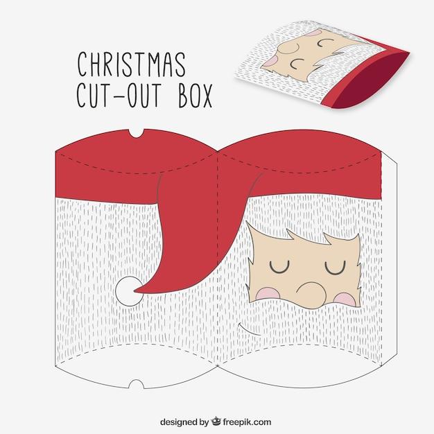 Sketchy santa claus cut out box Free Vector