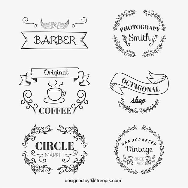 Sketchy shop badges Free Vector