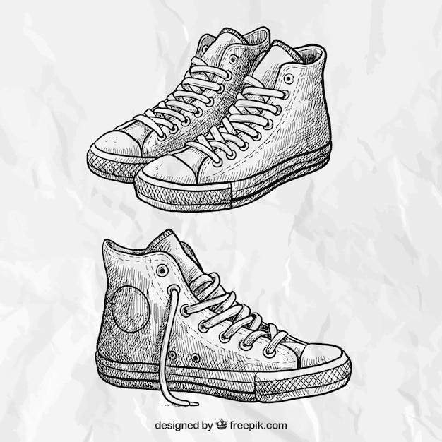 Sketchy sneakers Premium Vector