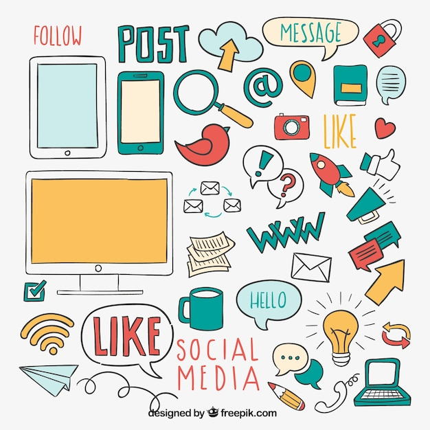 Sketchy social media elements Premium Vector