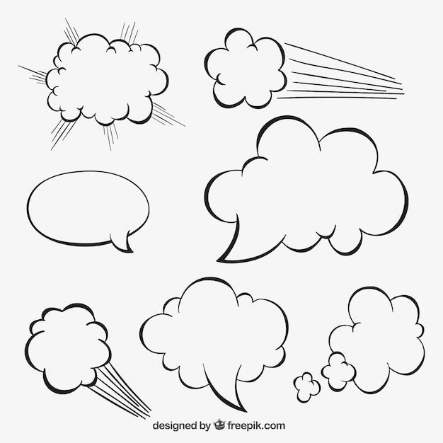 Sketchy speech bubbles Free Vector