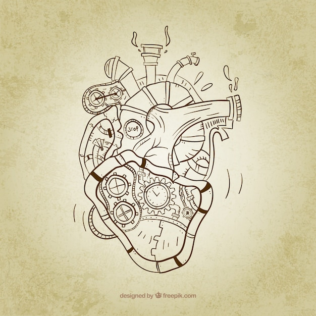 Sketchy steampunk heart Free Vector