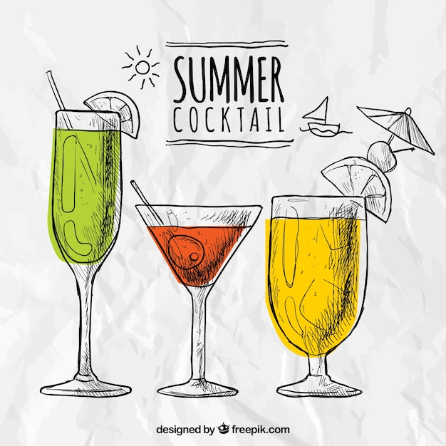 Sketchy summer cocktails Free Vector