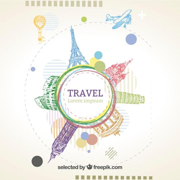 Эскизные шаблон путешествия Бесплатные векторы