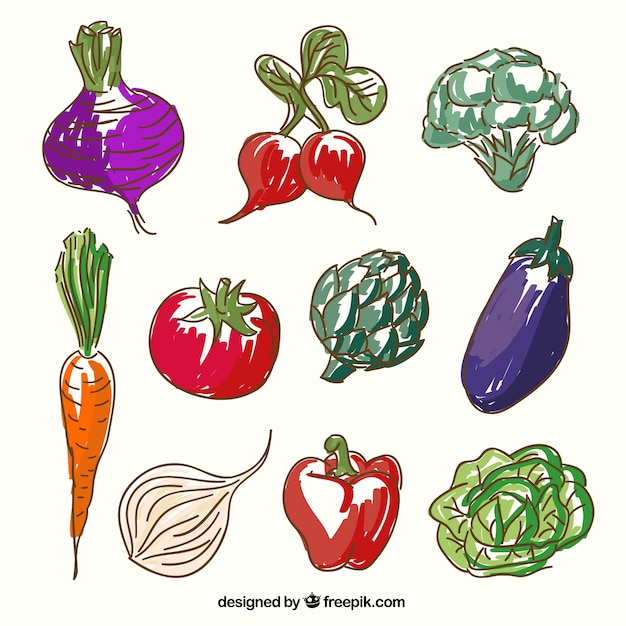 Sketchy vegetables Free Vector
