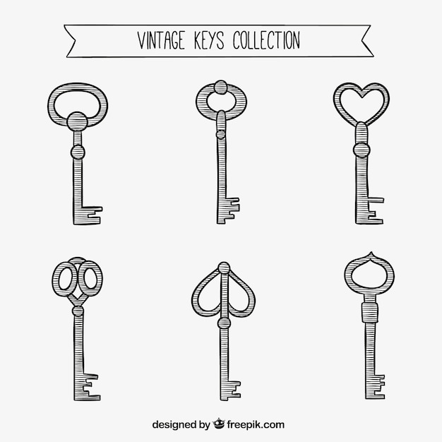 Sketchy Vintage Keys Collection Free Vector