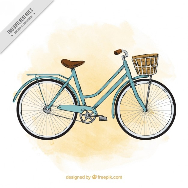 Sketchy watercolor vintage bicycle\ background