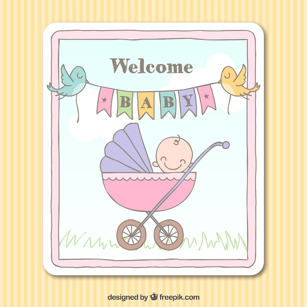 Sketchy welcome baby card Vector | Free Download