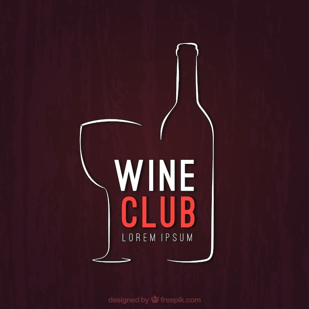 sketchy wine club logo vector free download