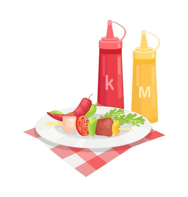 Skewer barbeque meal Premium Vector