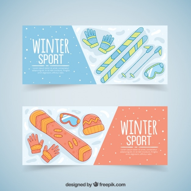 Ski and snowboard accessories banners