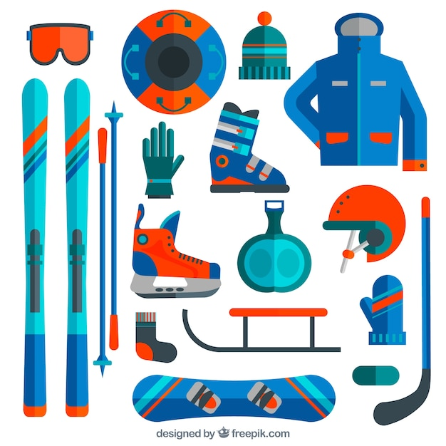 Ski and snowboard equipment in flat\ design