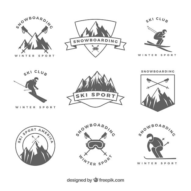 Ski badge collection Free Vector