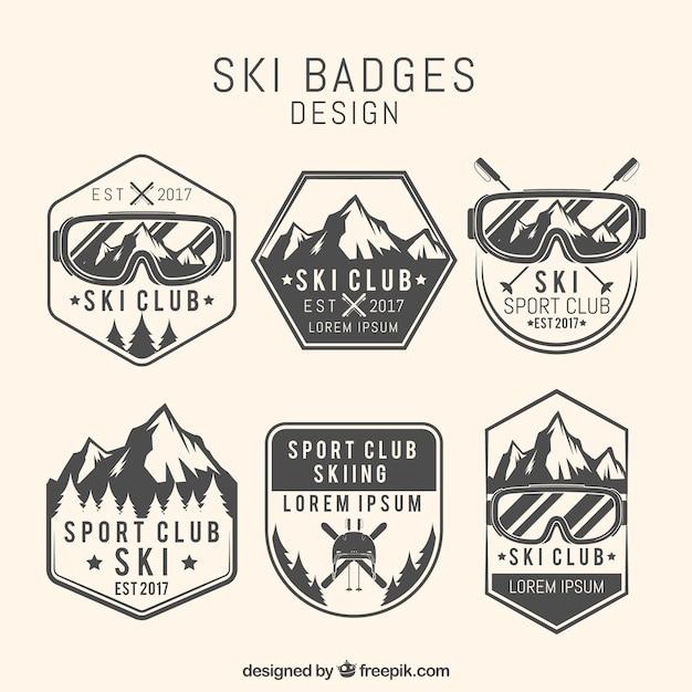 Ski badge collection Premium Vector