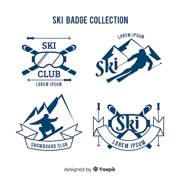 Ski badge collection Free Vector
