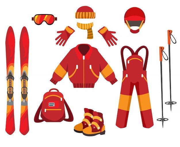 Ski clothes and equipment Premium Vector