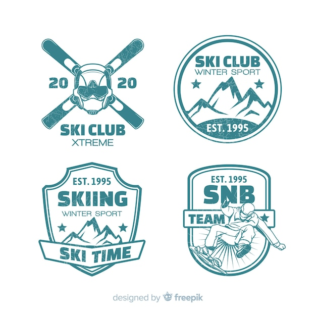 Ski club flat badges collection Free Vector