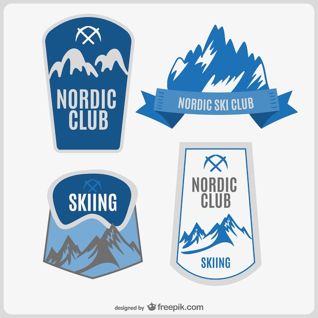 Ski club logo set Free Vector