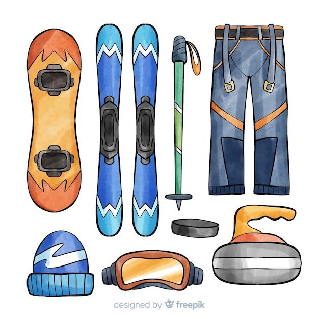 Ski equipment illustration Free Vector