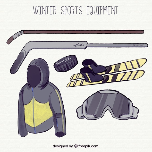 Ski equipment set and hand-drawn hockey