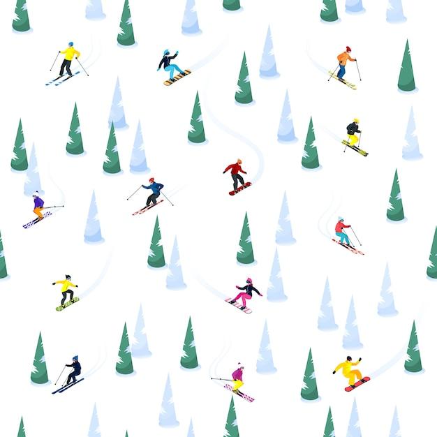 Ski hill seamless pattern Free Vector