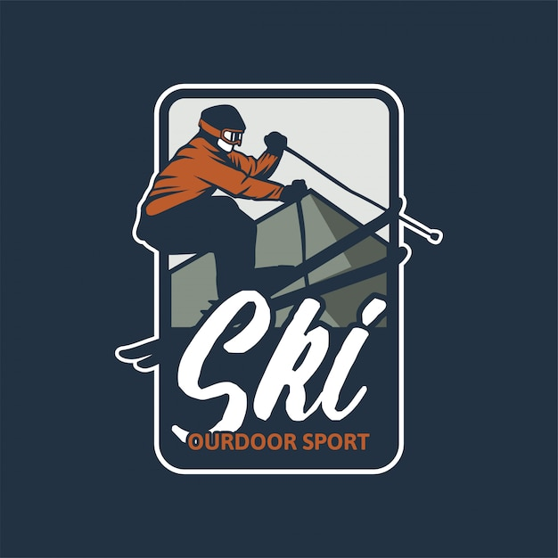 Ski outdoor sport badge Premium Vector