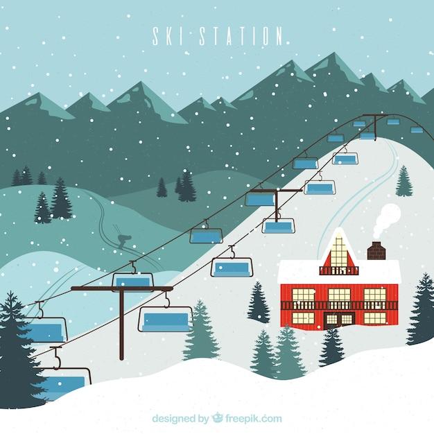 Ski resort design with big lift vector free download for Design skihotel