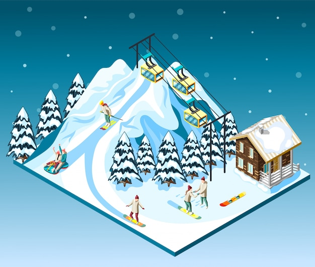 Ski resort isometric composition visitors on mountain slope house and funicular blue  with snow Free Vector