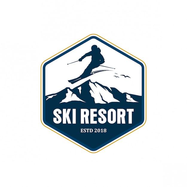 Ski resort logo design Premium Vector
