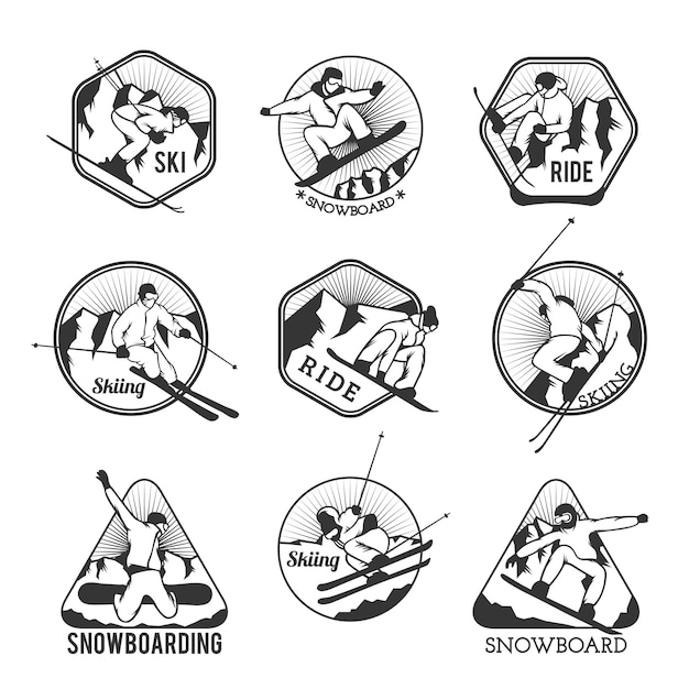 Ski resort logo emblems Premium Vector