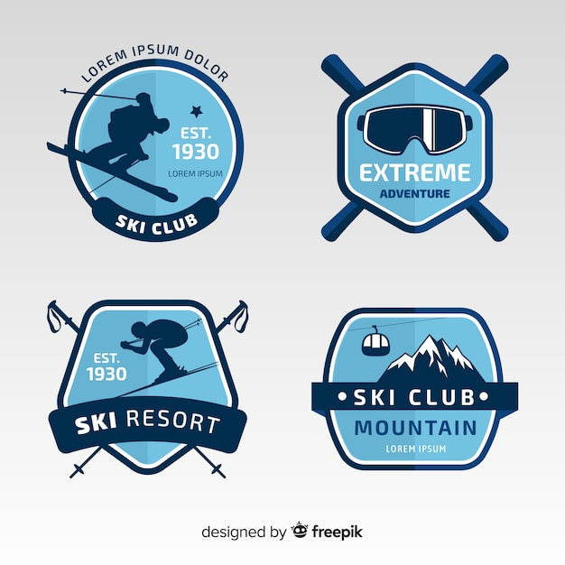 Ski silhouette winter badge collection Free Vector