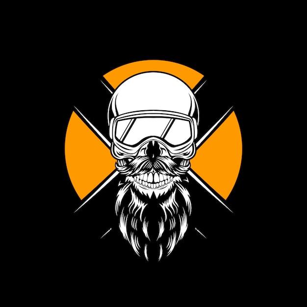 Ski skull Premium Vector
