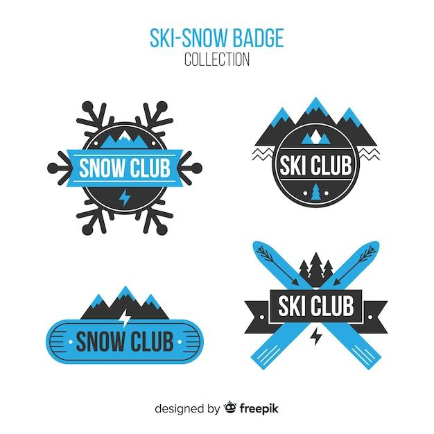 Ski-snow badge collection Free Vector