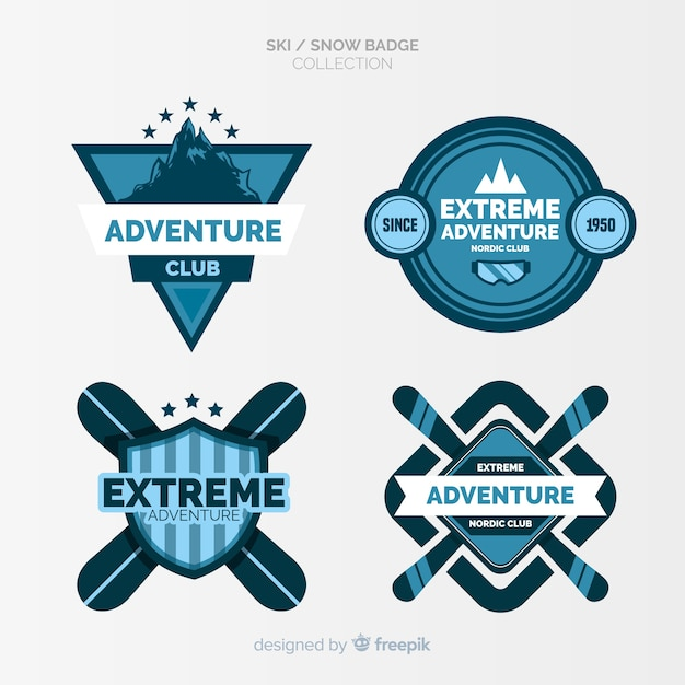 Ski and snow badges collection Free Vector