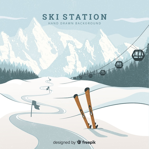 Ski station background Free Vector