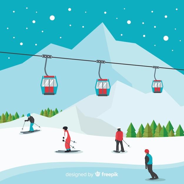 Ski station background Free Vector