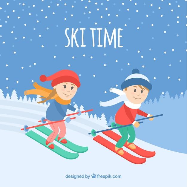 Ski time background with children