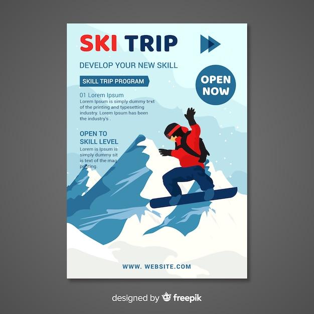 Ski trip banner Free Vector