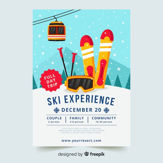 Ski trip  flyer template Free Vector