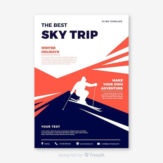 ski trip flyer template vector free download