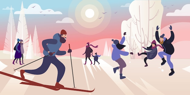 A ski trip to the winter city park on a frosty day. vector illustration. Premium Vector