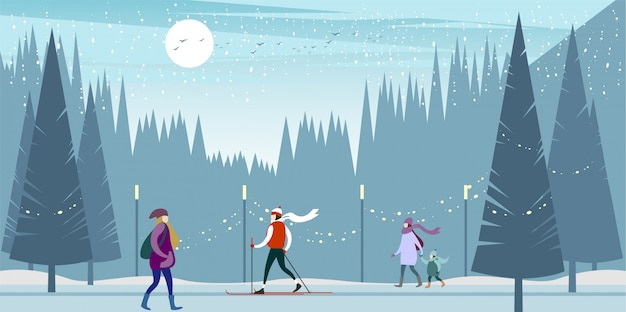 A ski trip to the winter city park on a frosty day. Premium Vector