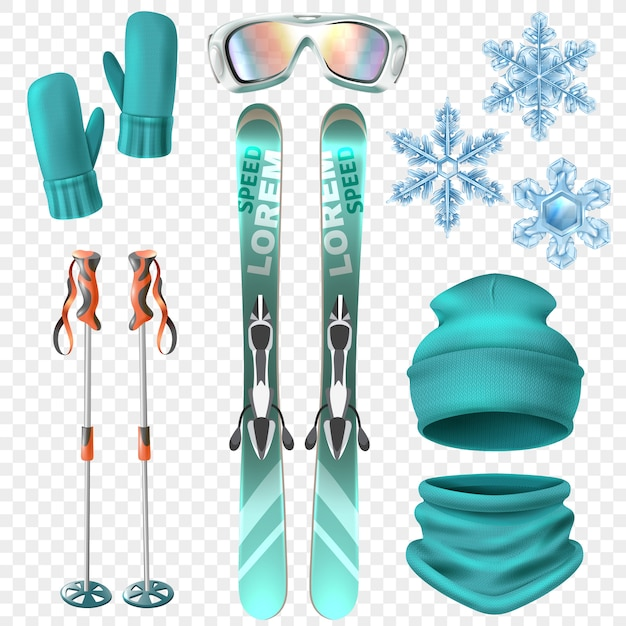 Ski winter  set Free Vector