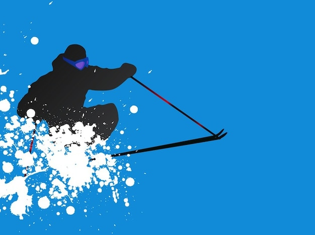 Ski with white splatters vector