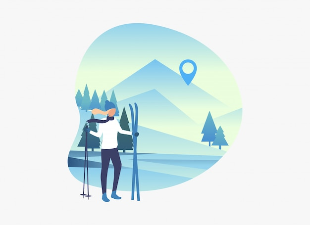 Skier woman holding skis and poles with snowy landscape Free Vector