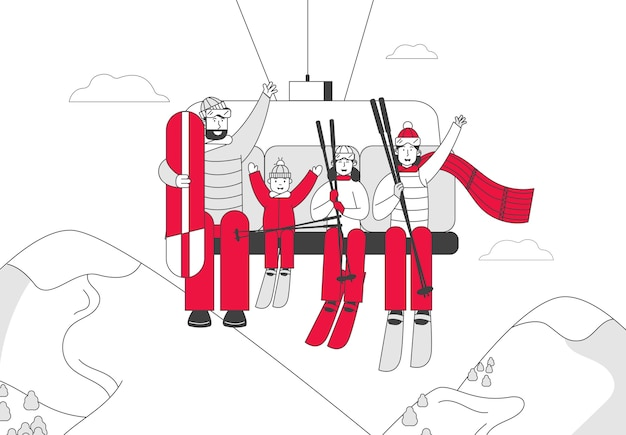 Skiers and skateboarder family of parents and kids go up hill Premium Vector
