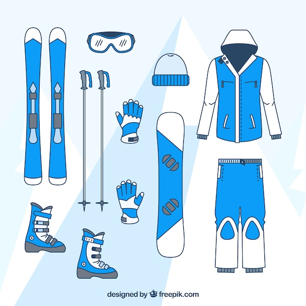 Skiing clothing and accessories set