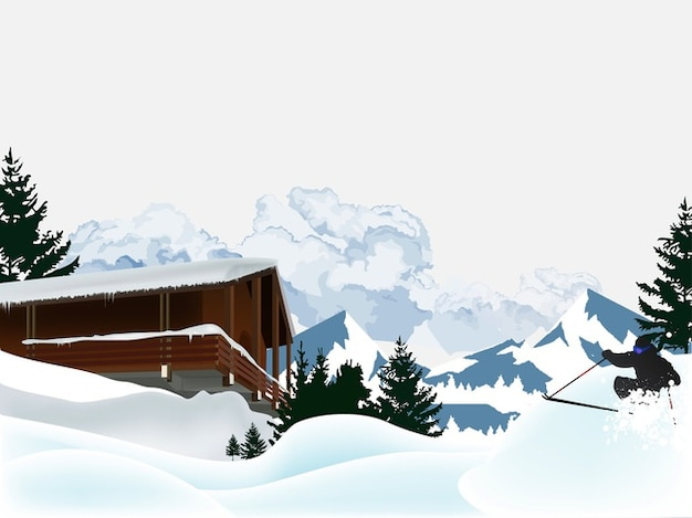 Skiing cold house vector pack